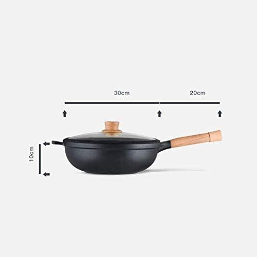 SMEJS En alliage d'aluminium Pan - Poêle à frire avec couvercle et poignée en bois, Convient for tous les types de poêles