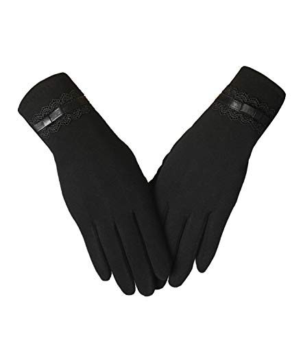 Womens Winter Gloves Touchscreen Texting Warm Lining Cold Weather Gloves (Black-ls)