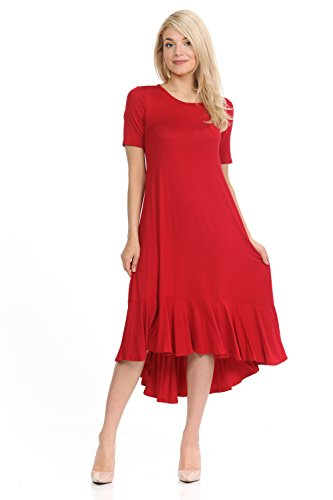 (Pastel by Vivienne Women's Short Sleeve High-Low Mid Dress with Ruffle Detail Medium Red)