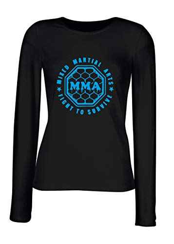 Las shirt Arts Tourvive Martial Tboxe0055 Negra T Mma Larga Mujeres Manga Para Mixed Fight SAHwEqCw