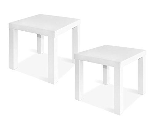 CAP LIVING 1 or Set of 2, Square Side End Table, Night Stand, White