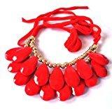 Yiwa Long Ribbon Water-drop String of Big Resin Beads Short necklace - Red ()