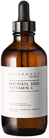 MATRIXYL 3000 + Vitamin C 4 oz Serum with Organic Hyaluronic Acid, Lighten Sun Damage and Wrinkles, Beautiful Skin Protection and Restoration Combo ASTERWOOD NATURALS Amber Bottle