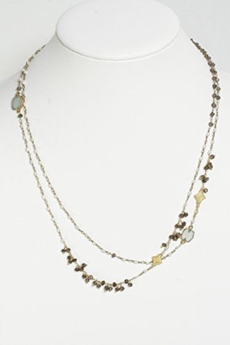 Smoky Necklace Quartz Freshwater - Long Necklace with Smoky Topaz, Smoky Quartz, Gold Vermeil Charms and Freshwater Pearls