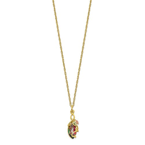 10k Tri Color Black Hills Gold Mystic Topaz Chain Necklace Pendant Charm Tree Leaf Fine Jewelry Gifts For Women For Her