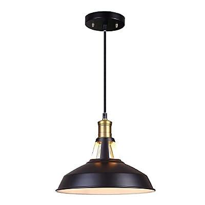 JACKYLED Metal Pendant Light Industrial Barn Mini Edison Ceiling Lamp Fixture 1 Light