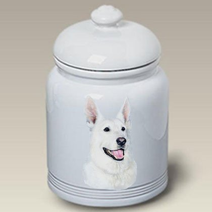 German Shepherd (White): Ceramic Treat Jar 10