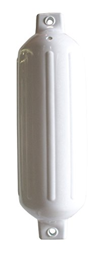Ribbed White Fender - Dock Edge Boat Ribbed Fender, White, 6.5x23-Inch
