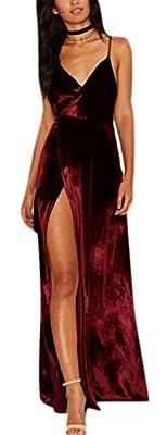 Women's Sexy Velvet V-Neck Spaghetti Strap Slit Party Cocktail Gowns Dress