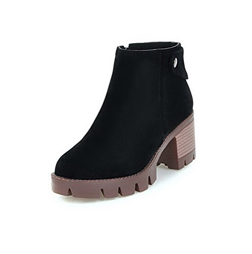 WeenFashion Solid Ankle 43 Zipper Imitated Kitten Black high Boots Women's Heels Suede HHwrYOq