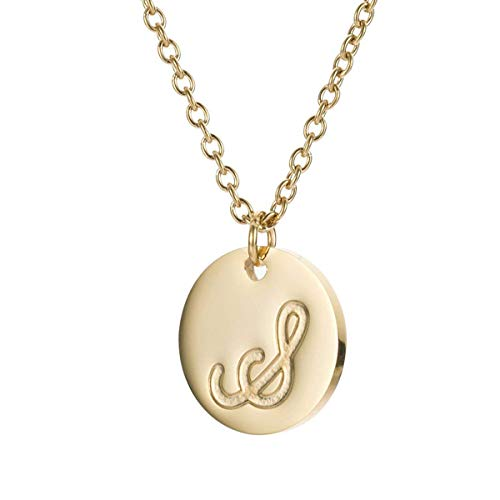 MMTTAO Initial Necklace 18K Gold Filled Disc Letter Alphabet Monogram Necklaces for Women Girls Stainless Steel Personalized Pendant Necklace - Letter S