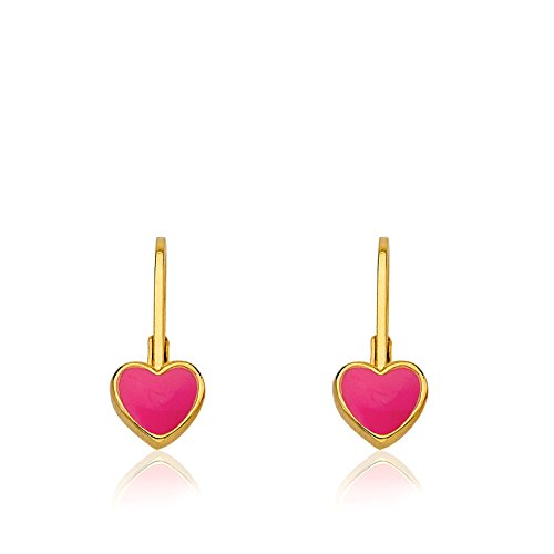 Little Miss Twin Stars Kids Earrings - 14k Gold Plated Hot Pink Enamel Heart Leverback Girls Earrings For Kids Red Heart Charms Nickel Free Earrings For Sensitive Ears Hypoallergenic Earrings For