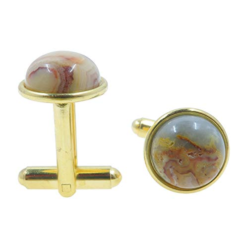 SatinCrystals Agate Crazy Lace Cufflinks 12mm Boutique Yellow Patterned Stone Polished Circle Metal Pair B01 (Gold-Plated-Brass) (Agate Cufflinks)