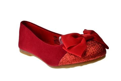Birona Baby Girls Suede Ballet Ballerina Flats Glitter Red 5