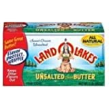 Land O Lakes Unsalted Sweet Cream Butter Stick, 1 Pound -- 18 per case.