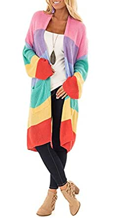 Yingkis Women's Knitted Rainbow Cardigans Color Block Long Drape Knit Sweaters Pockets,S