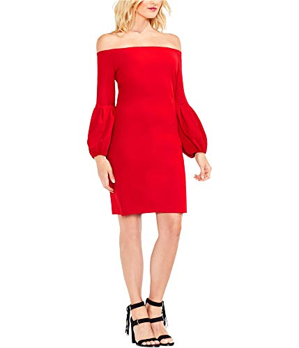 (VINCE CAMUTO Womens Off Shoulder Bubble Sleeve Crepe Ponte Dress True Crimson MD One Size)