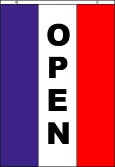 SoCal Flags Vertical Open Flag from 3x5 Foot Polyester Vertical Sign - Sold by A Proud American Company - Durable 100d Material Not See Thru Like Other Brands Weather Resistant