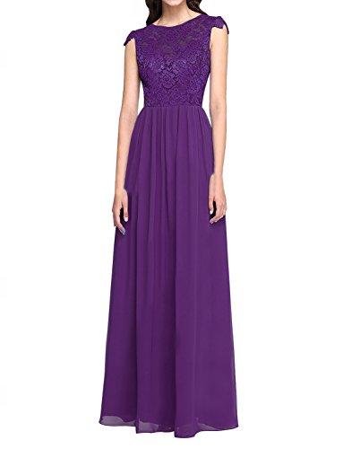 Brautjungfernkleider Abendkleid Erosebridal Spitze Lange Lila Chiffon 6qzIIE7Tw