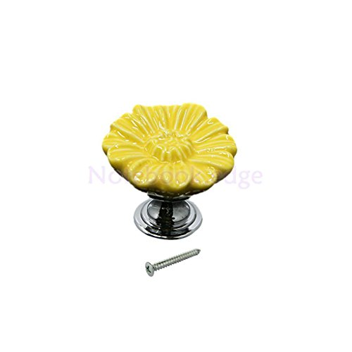 Yellow Daisy Ceramic Drawer Cabinet Cupboard Door Pull Handle Furniture Knob from notebook.edge