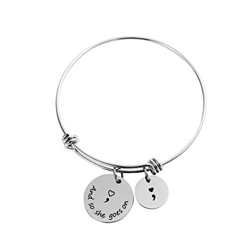 SNOWLIN Semicolon Adjustable Bracelets and So She Goes On Best Gift for Women Girls (and so she goes on)