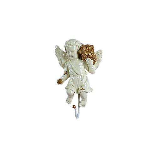 Zhi Jin 1Pc White Gold Angel Hooks Wall Mounted Door Hanger Rack Craft Decor for Coat Scarfs A