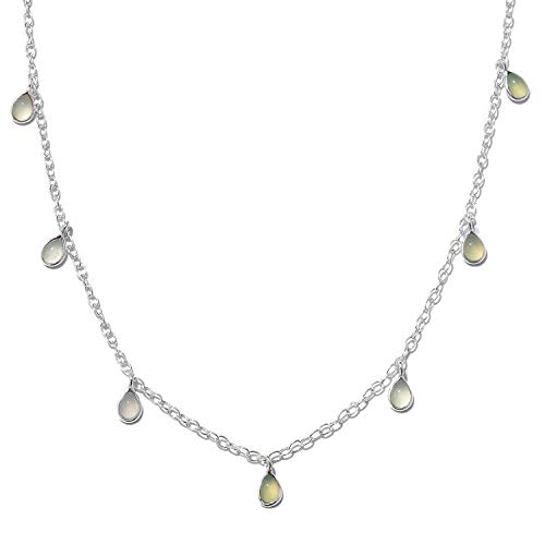 925 Sterling Silver Green Chalcedony Drop Charm Necklace for Women Gift Jewelry 18
