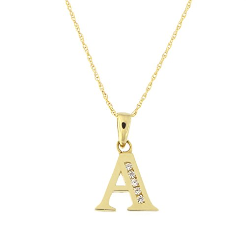 Girls' 14k Yellow Gold Cubic Zirconia Initial Pendant Necklace, 13 inches - A by Beauniq