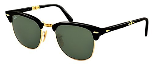 Ray-Ban Clubmaster Folding RB 2176 Sunglasses Black / Crystal Green 51mm & HDO Cleaning Carekit - Folding Ray Ban Clubmaster