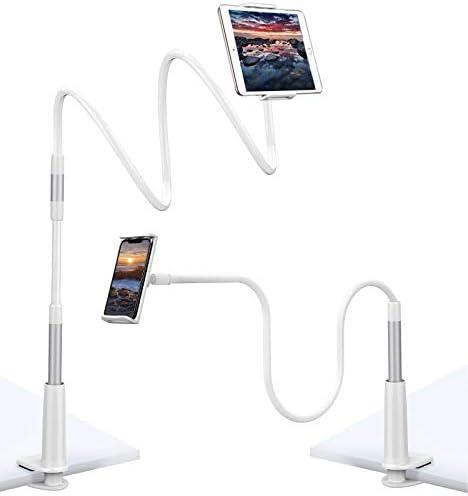 Angelikashalala Supporto per tablet a collo di cigno con supporto per telefono da scrivania compatibile con cellulari e tablet da 4,0 a 10,5 Nero