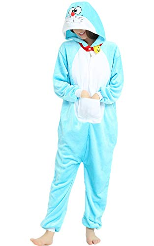 Indiefit Adults Onesie Pyjamas Flannel Animal Cosplay Costume Hoodie Sleepwear Nightgown (Doraemon De Halloween)