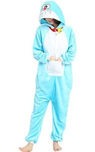 Indiefit Adults Onesie Pyjamas Flannel Animal Cosplay Costume Hoodie Sleepwear Nightgown Doraemon-S