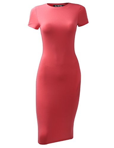 (A.F.Y All For You Women's Slim Fit Sandwich Dress Coral XX-Large)