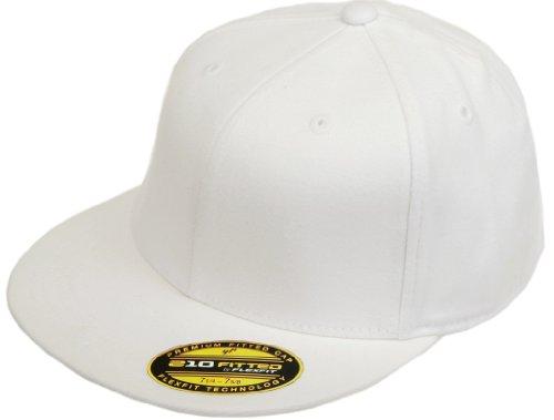 (Flexfit Blank Flatbill Premium Fitted 210 Hat Cap Flex Fit Flat Bill Large/Xlarge - White)