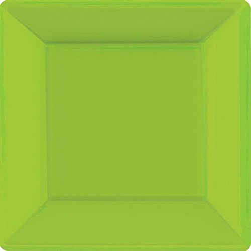Amscan Square Paper Plates Party Supplies, 10'', Green by Amscan