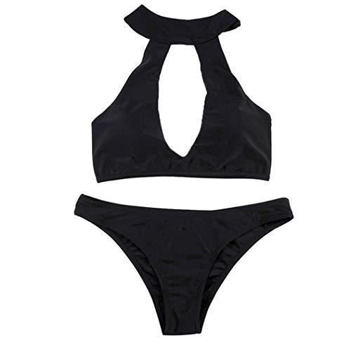 ManxiVoo Sexy Bathing Suits for Women Bikini Set Swimwear Open Bra Halte Swimsuit Beachwear (L, Black) -