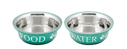 Buddy'S Line Non-Skid Stainless Steel Fusion Food/Water Serving Pet Bowl, Teal/White, 2-Quart