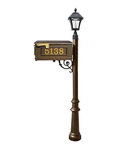 Mailbox w/Post Fluted Base & Solar Lamp, with Vinyl Numbers, Bronze ()