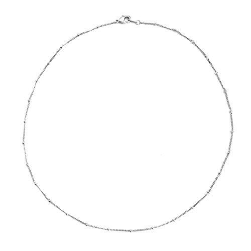 HONEYCAT Beaded Chain Choker in Rhodium Plate | Minimalist, Delicate Jewelry (S)