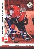 Jean-Pierre Dumont Team Canada 1998 Upper Deck Choice World Junior Showcase Autographed Card. This item comes with a certificate of authenticity from Autograph-Sports. Autographed