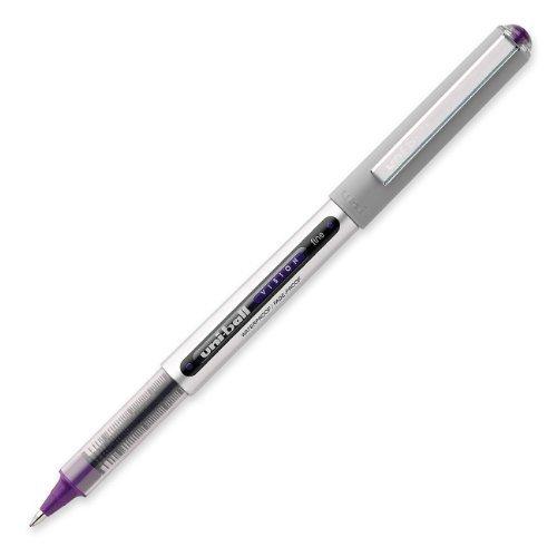 Uniball UB157 Fine Point Roller Ball Pens - Box of 12 - (Purple Fine Point Pen)