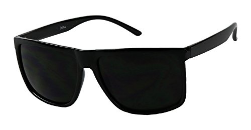 Basik Eyewear - Mens Over Size Square Flat Top Light Weight Sunglasses (Glossy Black, - Glasses Replica Designer