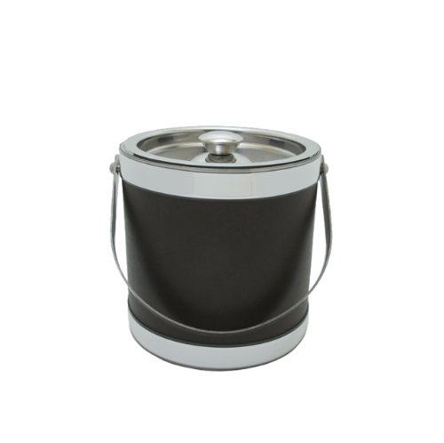 Mr. Ice Bucket 3-Quart Stainless Steel and Leatherette Ice Bucket, Brown ()