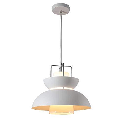 Modern Pendant Light, MKLOT Industrial Vintage Minimalism Ceiling Chandelier Lighting Fixture Art Deco with Semicircular Shade for Dinning/Living Room,Restaurant,White