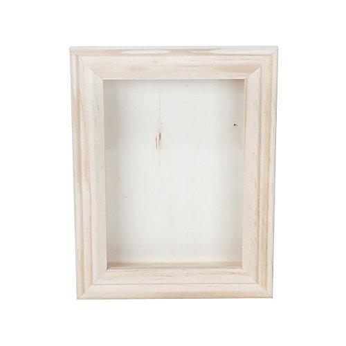 Darice 9184-76 Natural Wood Shadow Box Frame, 5-Inch, White