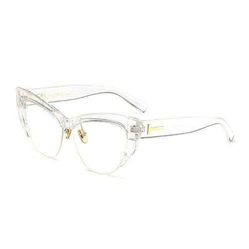Retro Cateye Half Lunettes pour C9 de Rimmed Fuyingda Cat Vintage lunettes soleil femmes Eye 04qB66dw