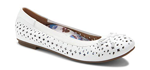 Vionic Women's Spark Surin Ballet Flat - Ladies Flats with Concealed Orthotic Arch Support White 11M - White Leather Ballerina