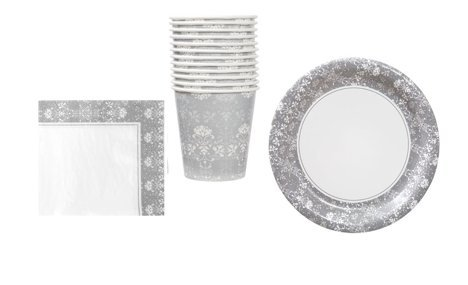 Floral Wedding Party Set ~ Includes Plates, Napkin and Cups (Serves (Wedding Plates And Napkins)