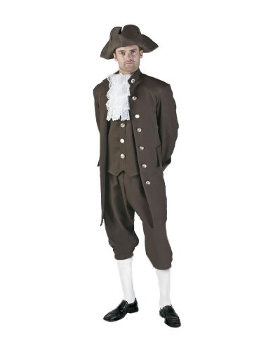 [Men's Colonial Theater Costume, Brown, Xlarge] (Colonial/revolutionary War Costumes)