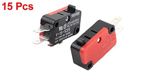 V-15-1C25 AC 250V 15 Amp Micro Limit Switch Button SPDT Momentary Snap Action 15 Piece